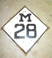 Fully Embossed Michigan State Highwy 28 Sign $OLD