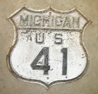 $OLD Old Michigan Route 41 Fully Embossed Shield Sign