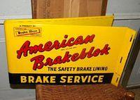 $OLD American Brakeblok Double Sided Tin Flange Sign