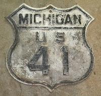 $OLD Original Michigan Route 41 Fully Embossed Shield Sign