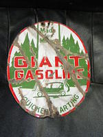 $OLD Scarce Giant Gasoline DSP Double Sided Porcelain Sign