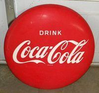 $OLD Coca Cola Tin Button Sign AM