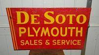 $OLD DeSoto Plymouth Double Sided Porcelain Sign