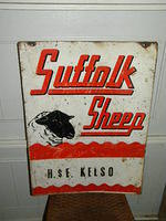 $OLD Suffolk Sheep Double Sided Tin Sign