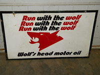 $OLD Wolf's Head Motor Oil DST Tin Sign