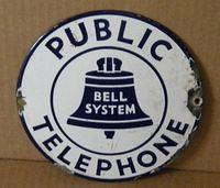 $OLD Small Telephone Porcelain Convex Sign