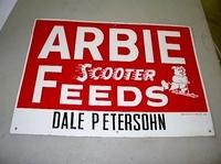 $OLD Arbie Scooter Feeds Sign w/ Pig Graphics