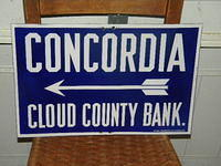 $OLD Concordia Porcelain Kansas State Auto Trail Highway Sign with Arrow
