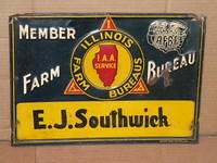$OLD Illinois Farm Bureau Embossed Tin Sign