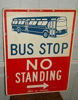 $OLD Double Sided Tin/Aluminum Bus Stop Sign NYC
