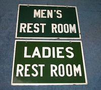 $OLD Green & White (sinclair, Southern RR, Cities Service) Restroom Signs Double Sided Porcelain