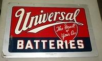 $OLD Universal Batteries Tin Sign w/ Heart Logo