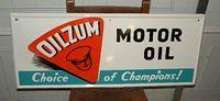 $OLD Oilzum Tin Sign AM SIGN CO