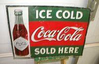 $OLD Early 1900s Ice Cold Coca Cola Tin Sign w/ Straight Sided Bottle
