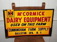 $OLD McCormack Dairy Equipment NOS Emb. Tin Sign