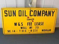 $OLD Sunoco Sun Oil Co Lease Porcelain Sign