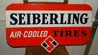 Gorgeous Original Double Sided Porcelain Seiberling Tires Sign $OLD