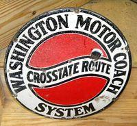 $OLD Washington Motor Coach Porcelain Bus Sign