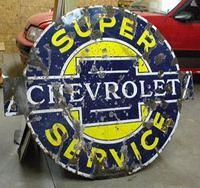 $OLD Chevrolet Super Service Porcelain Sign original