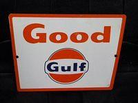 $OLD Good Gulf Porcelain Pump Sign