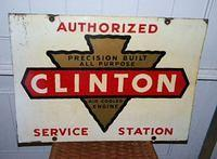 $OLD Clinton Service Double Sided Tin Sign
