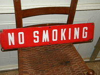 No Smoking Porcelain Sign $OLD