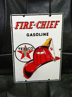 $OLD Small Texaco Firechief Porcelain Pump Sign PPP