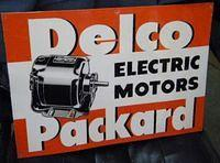 $OLD Delco Packard Electric Motors Tin Sign