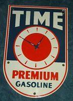 Time Premium Porcelain Gas Pump Plate Sign $OLD
