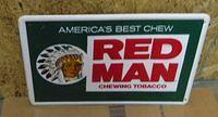 $OLD  Red Man Tobacco Embossed Tin Sign