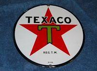 Gorgeous Texaco 8 Inch SSP Porcelain Lubester Sign $OLD