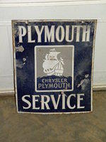 $OLD Plymouth Service Porcelain Sign DSP w/ Ship Graphics