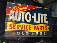 $OLD Autolite Tin Flange Sign Dbl Sided