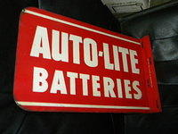 $OLD Autolite Batteries Double Sided Tin Flange Sign