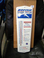 $OLD Boeing Tin Thermometer Sign w/ Plane Graphics