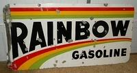 $OLD RARE Rainbow Gasoline Double Sided Porcelain Sign ORIGINAL