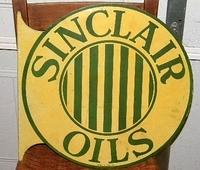 SOLD: Sinclair Oils Double Sided Tin Flange Sign