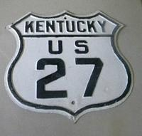 SOLD: Kentucky US 27 Route Shield Embossed