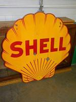 $OLD Shell DSP 48 Inch Porcelain Sign
