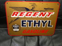 $OLD Regent Ethyl Gasoline Pump Plate Sign w/ Graphics