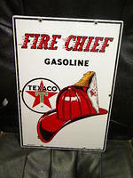 $OLD Texaco Fire Chief Porcelain PPP Pump Sign 18x12