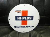 $OLD Allstate Hi Plus PPP Porcelain Gas Pump Plate Sign