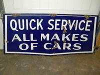 $OLD Quick Service All Makes of Cars DSP Mopar Dodge Plymouth Porcelain Sign