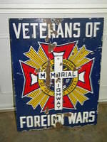 $OLD VFW Veterans of Foreign Wars Memorial Highway Porcelain Sign