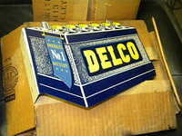 $OLD NOS Delco Batteries Mini Flange Sign (United Motors Service) w/ Box 1950s