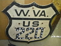$OLD Rare West Virginia US 220 Fully Embossed Route Shield w/ Reflectors