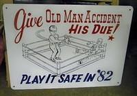 "$OLD Sign w/ Boxing Graphics ""Play It Safe"""