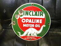 $OLD Sinclair Opaline Motor Oils 12 Inch Porcelain sign w/ Dino