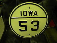 $OLD Iowa State Route 53 Fully Embossed Steel Highway Sign
