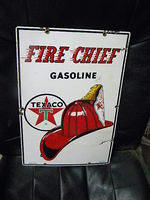 $OLD Fire Cheif Texaco PPP Porcelain Pump Plate Sign